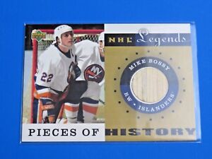 2001 UPPER DECK NHL LEGENDS PIECES OF HISTORY ~ MIKE BOSSY HOCKEY CARD #PH-MB