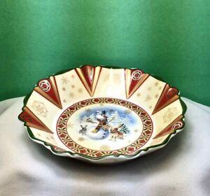 "VILLEROY & BOCH 6-1/2"" Dish SNOWMAN & BUNNIE RABBITS 1748 Series RED GREEN Cream"