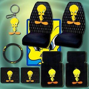 8pc Tweety Bird Car Mats Seat Covers Steering Keychain Ebay