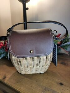 NWT Tommy Bahama Rose Wicker Leather Rattan Small Structured Crossbody Bag Purse
