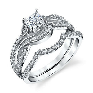 925-Sterling-Silver-CZ-Engagement-Wedding-Ring-Set-Cubic-Zirconia-Scroll-Design