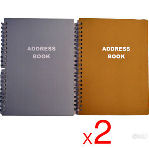 2-X-PHONE-BOOK-METALLIC-COVER-ADDRESS-PAD-CONTACT-DATA-NOTE-TELEPHONE-DIARY