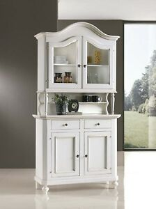 Credenza vetrina dispensa cucina laccata bianca patina ebay for Vetrinetta bassa arte povera