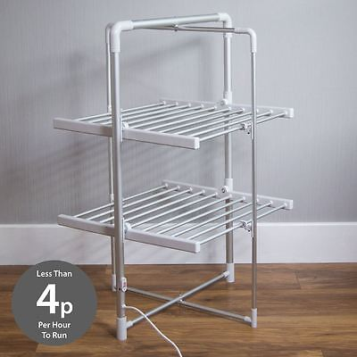 Portable Heated 2 Tier Clothes Airer Folding Indoor Laundry Washing Dryer Horse