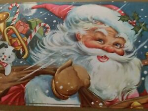 UNUSED-Vtg-SANTA-Toys-Snow-Storm-Embossed-CHRISTMAS-GREETING-CARD-New-Old-Stock