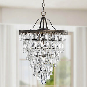 Conical 4 light antique brass crystal chandelier 742834209616 ebay image is loading conical 4 light antique brass crystal chandelier aloadofball Gallery