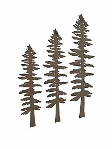 3 Rustic Brown Finished Metal Pine Tree Wall Sculptures 16, 20, 24 Inches High