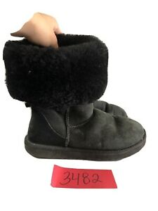 Ugg Classic Tall 5815 Black Women's Size 7 Shearling Suede Winter Boots