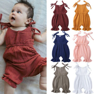Newborn-Baby-Girl-Summer-Ruffle-Solid-Romper-Bodysuit-Jumpsuit-Outfit-Clothes