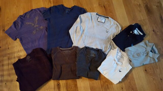 American Eagle Shirt Size M Lot Of 9 Polo, Thermal, T-Shirt, Sweater