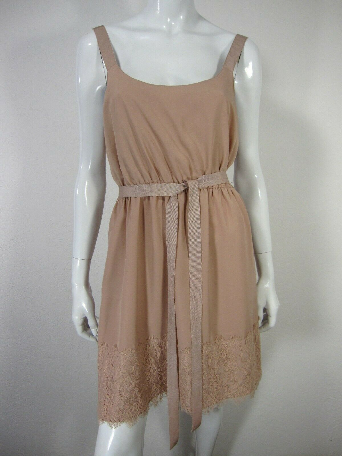 Rhapsody Scoop Neckline Sleeveless Dress L Large Cream Beige Belt