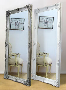Abbey Ornate Large Full Length Leaner Mirror White or Silver 65\