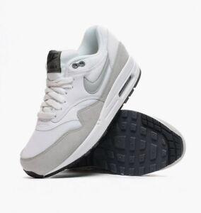 Nike-Air-Max-1-Essential-White-Grey-Mist-Dark-Grey-Black-Size-UK-2-5-Womens-Kids