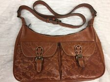 Patricia Nash PIACENZA SLING Boho Crossbody Leather Tooled Handbag Purse Italian