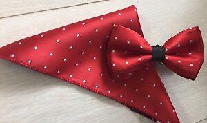 RED-amp-WHITE-POLKA-SILK-BOW-TIE-amp-HANKY-ITALIAN-DESIGNER