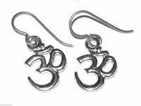 Earrings, Om Buddhist Hindu Yoga Yogi Niobium-wires Silver Nwt, 1-1/8