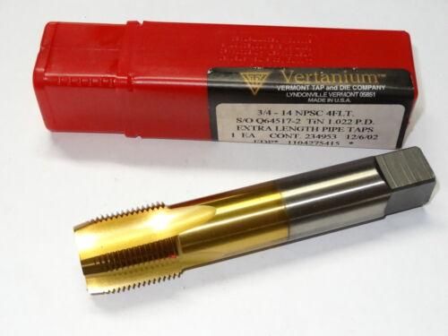 "VERMONT 3//4/""-14 NPSC 4 Flutes 1.022 P.D TiN Extra Length Pipe Tap VERTANIUM"