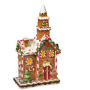 Tall-Holiday-Lighted-Gingerbread-House-w-Steeple-Winter-Snow-Village-Town-Decor
