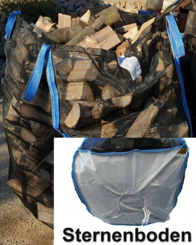 Woodbag Holzbag 100x100x160cm BigBag Sternboden Kaminholz trocknen   7 Stück