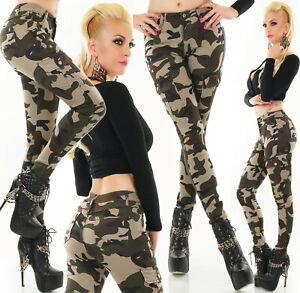 Jeans Ladies Skinny Camouflage Cargo Jeans Trousers