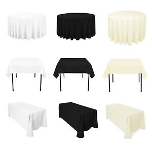 Polyester-Tablecloth-Table-Cover-Cloth-Banquet-Wedding-Party-White-Black-Ivory