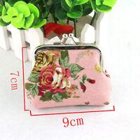 Womens Ladies Wallet Flower Small Coin Purse Retro Hasp Girls ID Card Mini Bags
