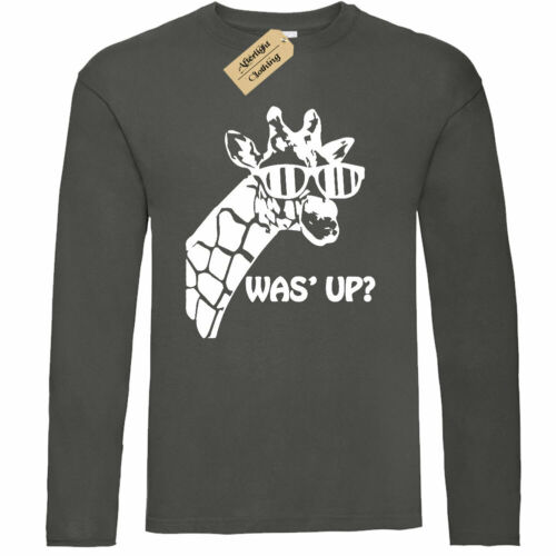 Mens Was/' Up Giraffe Cute Graphic Animal T-Shirt long sleeve top gift