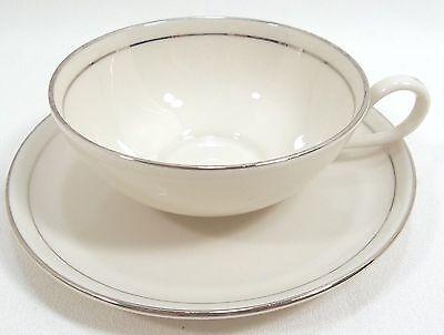 Vintage Society Fine China Cup & Saucer Set SERENITY Cream - Platinum  Trim