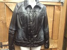 GAS LADIES GUNMETAL/BLACK DISTRESSED LEATHER LOOK JACKET  SMALL. BIKER/CASUAL