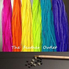 Feathers Hair Extensions Kit Lot 20 Grizzly MultiColor Bright Real All SOLID KIT