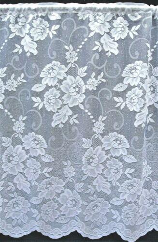 Danielle Tout Fleuri droite blanc filet rideau avec festonné base par mètre