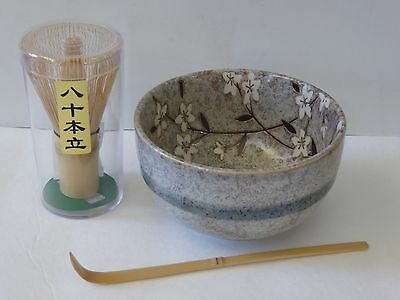 Japanese Matcha Tea Bowl Set, Bamboo Scoop 80 Whisk Tea Ceremony/Cherry Blossom