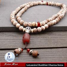 Lotusmind 6mm Lotus-seed 108 prayer beads Mala Carnelian Mani Mantra pendant