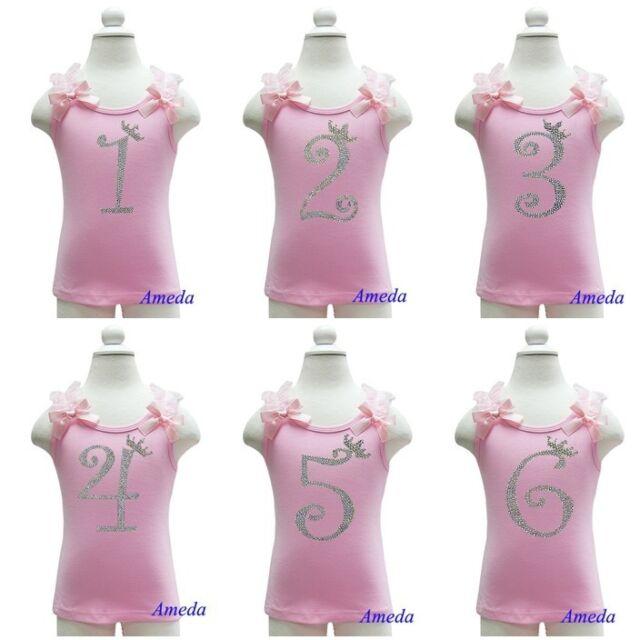 Girl 1st 2 3 4 5 6 Light Pink Rhinestone Number Princess Crown Birthday Tank Top