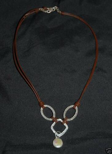 RET N1257 SILPADA Freshwater Coin Pearl Brown Leather Necklace