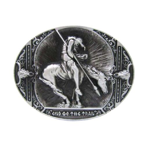 Antik Silber Rodeo Indianer Ritter Hörner Gürtelschnalle Western Cowboy