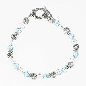Beaded-Aquamarine-Crystal-Silver-Bracelet-Handmade-March-Birthstone-Bracelet