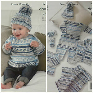 f4e4fc3d45c0 KNITTING PATTERN Baby All in One Blanket Jumper Mittens Hat DK ...