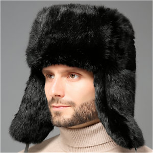 3e8cad3944e Men s Real Rex Rabbit Fur Trapper Hat Natural Fur Winter Warm Ski ...