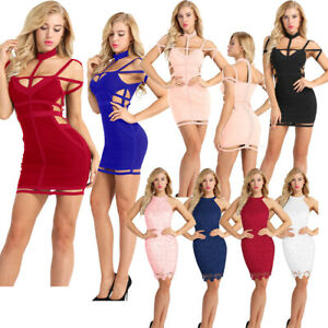 ebae2f2243 Sexy Women Lace Cutout Bodycon Mini Dress Evening Party Cocktail ...