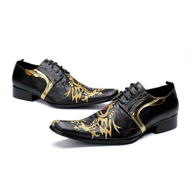 Punk Men's Dragon shoes Leather Business Formal Lace up Stripe Loafers size e9