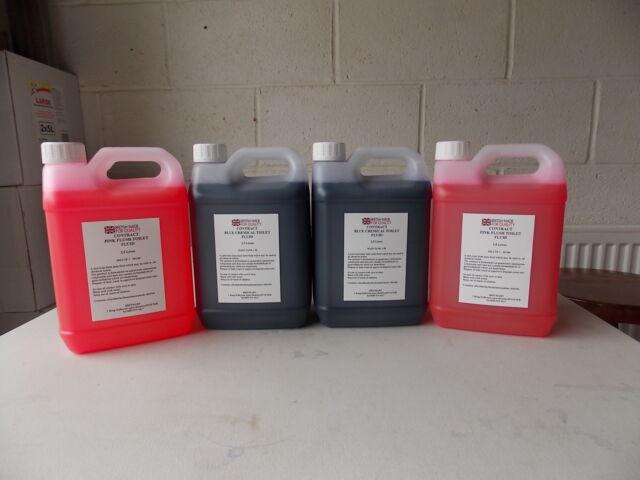 Contract Blue & Pink Chemical Toilet Fluid (Caravan,Boats etc) 4 x  2.5L