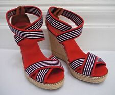 0722faba6 item 4 TORY BURCH Adonis red blue stripe canvas espadrille wedge sandals  size 9 -TORY BURCH Adonis red blue stripe canvas espadrille wedge sandals  size 9