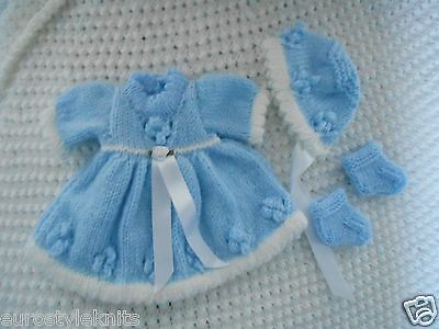Doll Clothes blue Vintage Style dress set fit Corolle, Am.Charac.Tiny Tear 11 in