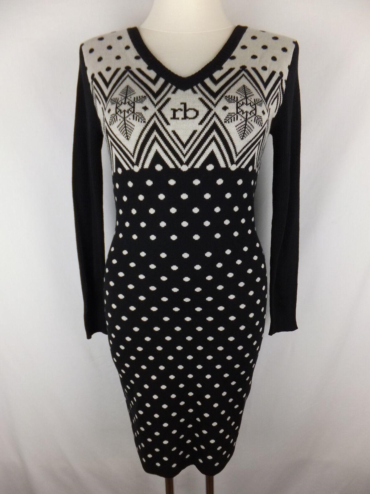 ROCCOBAROCCO Strick Kleid 36 S schwarz creme neu m. Etikett Punkte Schneeflocken