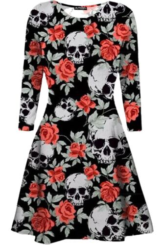 Womens Skull Scary Bat Pumpkin Spider Swing Dress Ladies Smock Skater Mini Dress