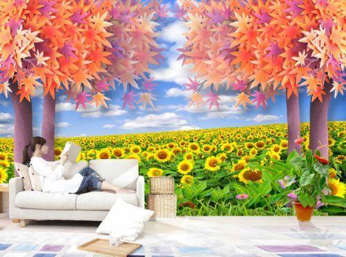 3D Ahorn SonnenBlaumen 1 Fototapeten Wandbild Fototapete BildTapete Familie DE