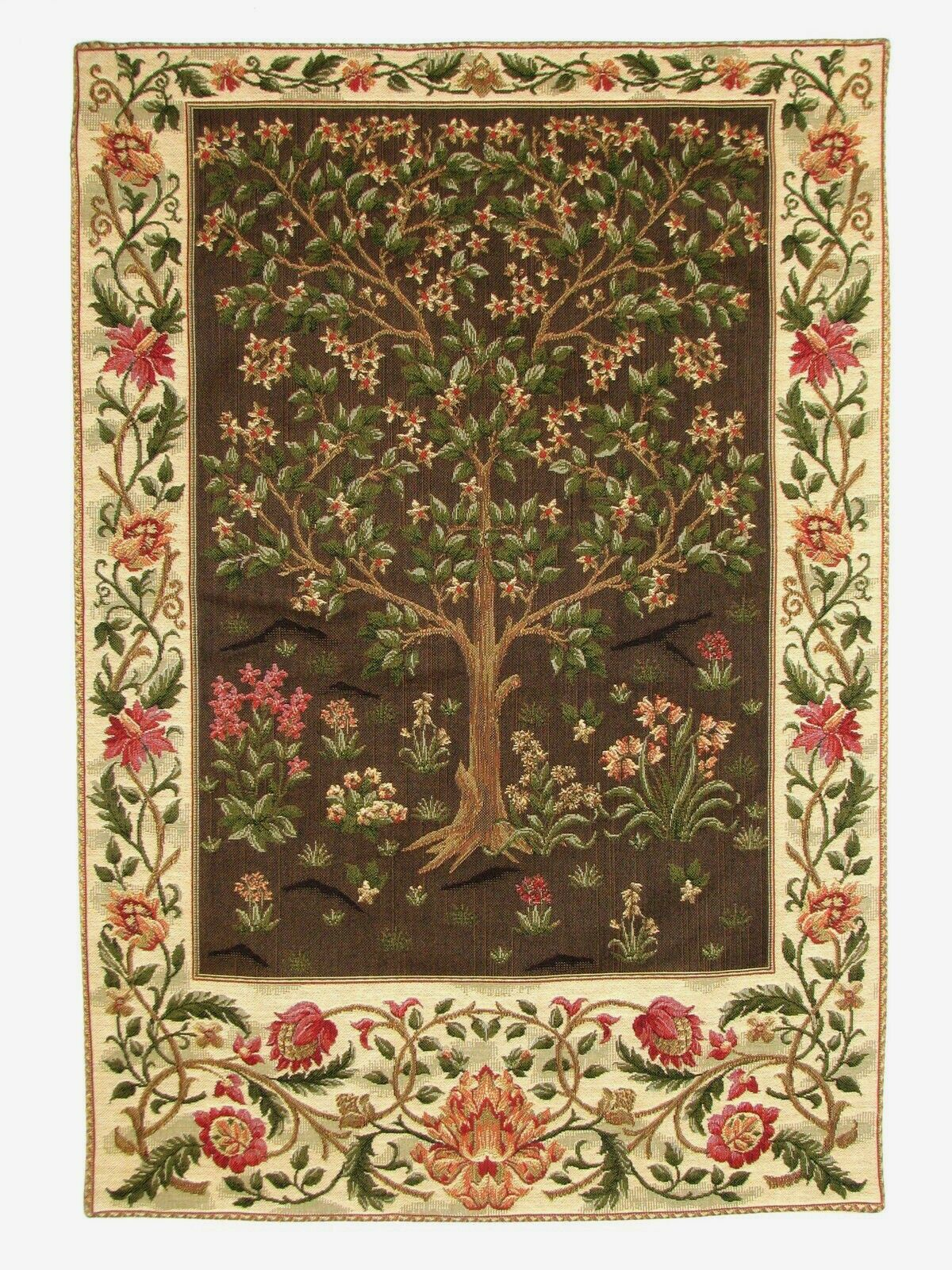 26  X 18  TREE OF LIFE WM MORRIS LINED BELGIAN TAPESTRY WALL HANGING, ROD SLEEVE