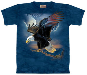 Eagle-Patriot-American-Flag-Bald-Bird-USA-Blue-Cotton-Mountain-T-Shirt-S-3X