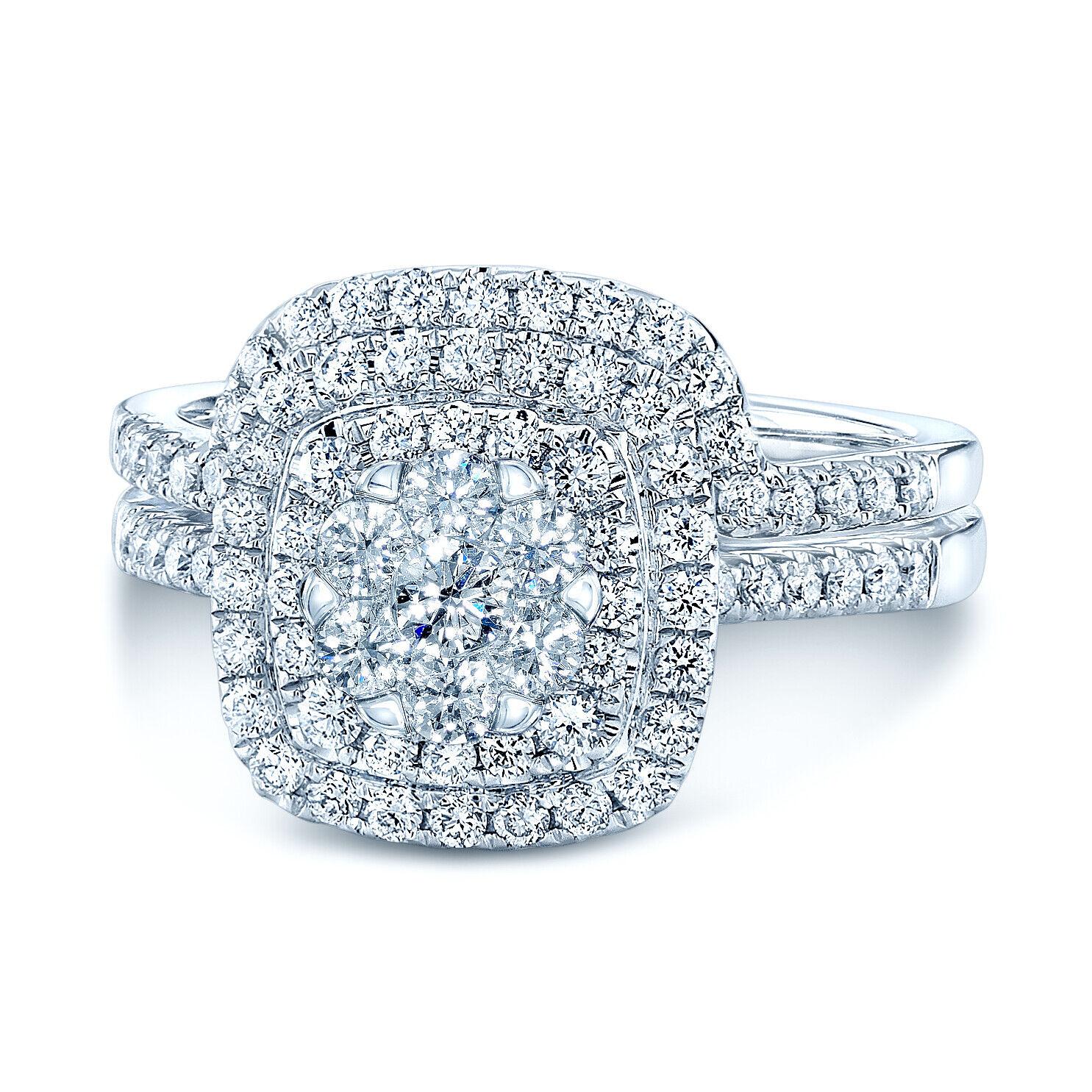 0.95 TCW Diamond Cushion Shape Double Entourage Wed Set In 14k White gold